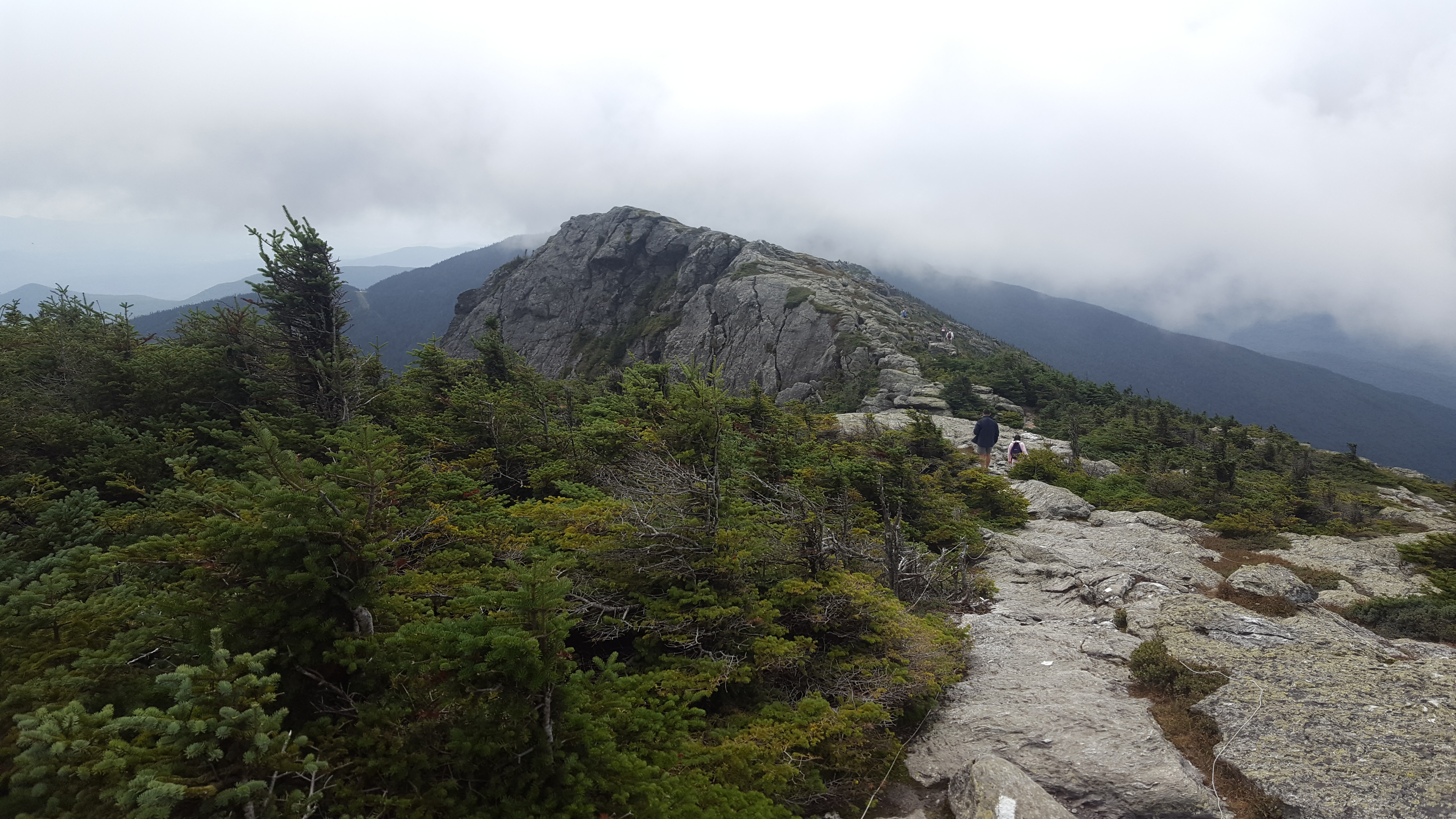 Photo of the summit of Mount Mansfield on the Long Trail in Vermont. Hiking up took a long time and a lot of miles.