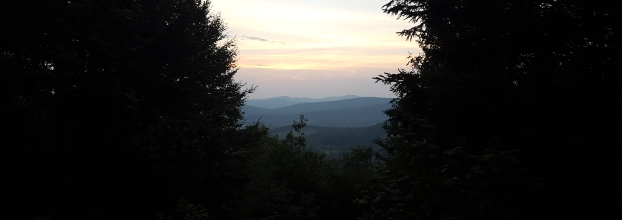Sunrise from a shelter before heading to Mount Mansfield on the Vermont Long Trail.