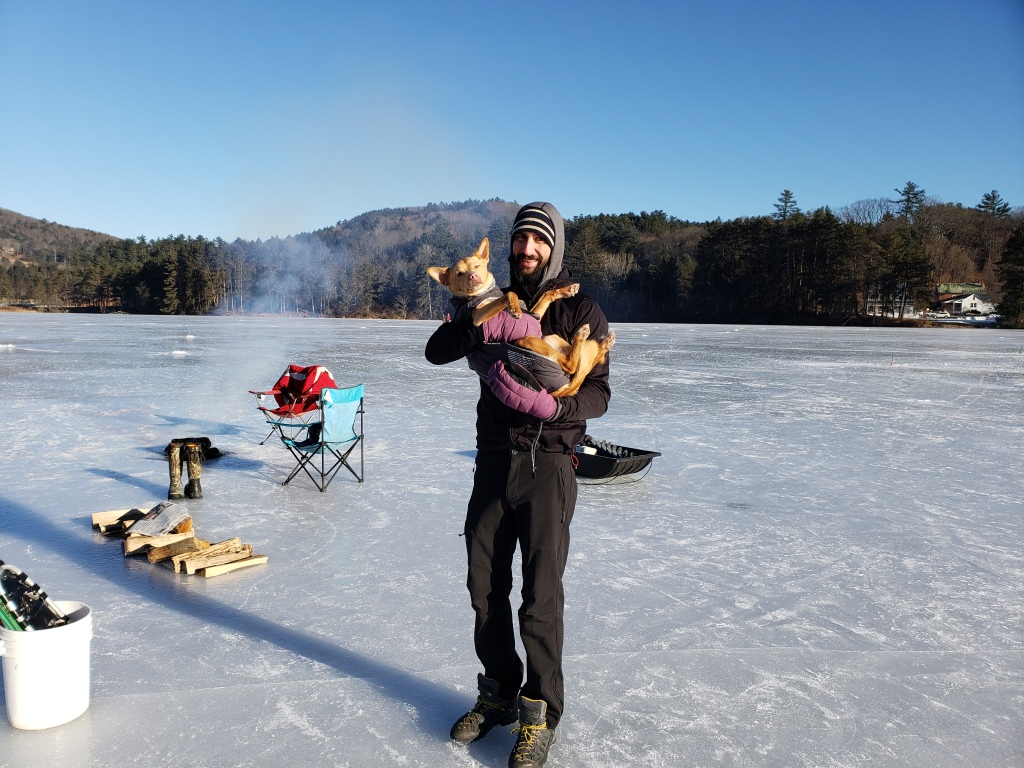 Sometimes you need a break from all the holiday excitement, ice fishing in Vermont is just cold enough to make it fun.