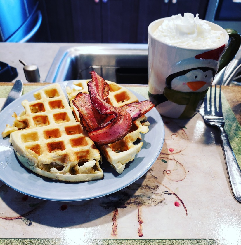 Christmas breakfast is a great way to start off the holiday, waffles, bacon and coffee are hard to beat for a Christmas tradition.