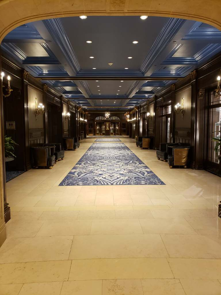 The grand lobby and hallways of the Fairmont Le Chateau Frontenac in Quebec, Canada.