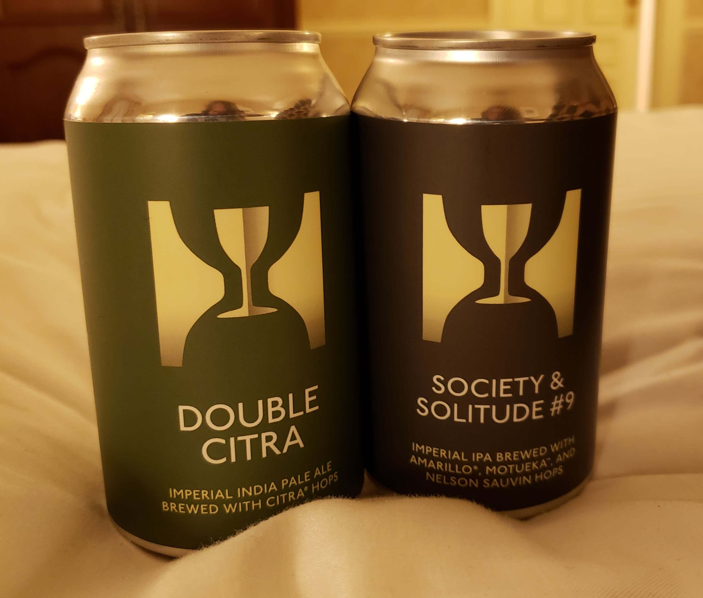 Photo of a can of Double Citra and Society & Solitude #9 from Hill Farmstead Brewery in Greensboro, Vermont.