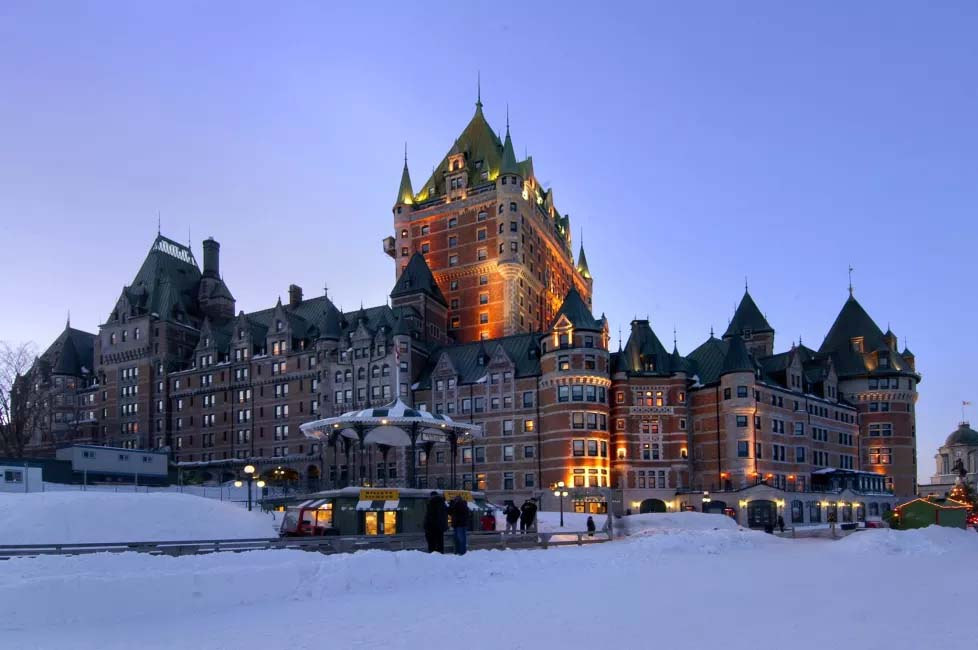 Hotel Fairmont Le Chateau Frontenac in Old Quebec City, Canada is an actual castle and the nicest hotel in Quebec City.